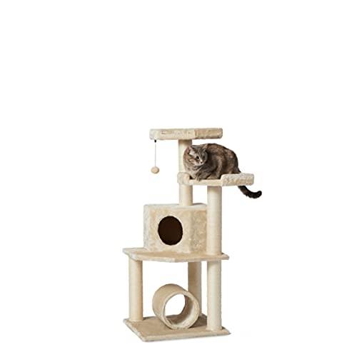 Amazon Basics - Albero per gatti con torre, tunnel e palo tiragraffi, 48,2 x 48,26 x 109,22 cm, beige