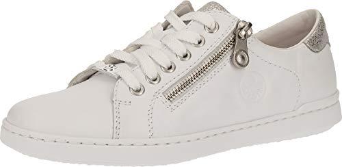 Rieker Damen Frühjahr/Sommer L2721 Sneaker, Weiß (Hartweiss/Ice 80), 36 EU