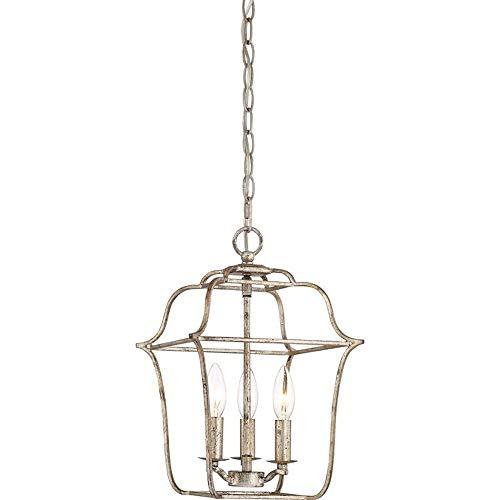 "Quoizel GLY5203CS Gallery Lantern Foyer Pendant Lighting, 3-Light, 180 Watts, Century Silver Leaf (15"" H x 10"" W)"