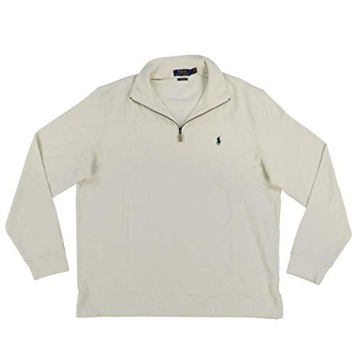 Polo Ralph Lauren Mens Quarter Zip Estate Rib Sweater (XL, Chic Cream)