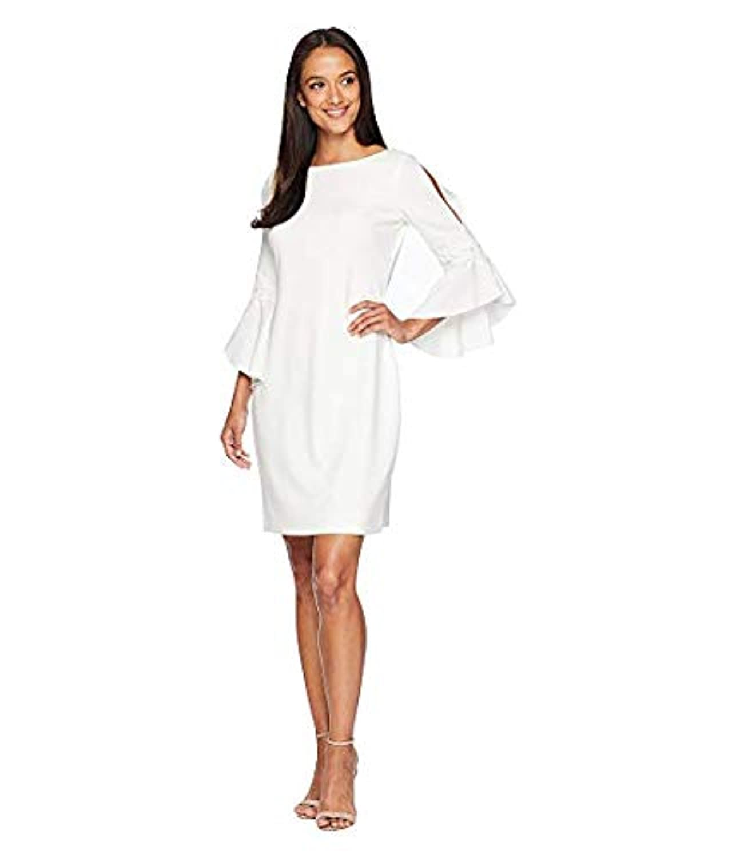 [LAUREN Ralph Lauren(ローレンラルフローレン)] レディースウェア?ジャケット等 130H Luxe Tech Crepe Demi 3/4 Sleeve Day Dress Cream US 0 (XXS) [並行輸入品]