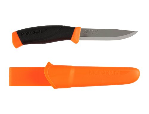 Morakniv Companion Fixed Blade Outdoor Knife with Sandvik Stainless Steel Blade, 4.1-Inch, Orange (M-11824)