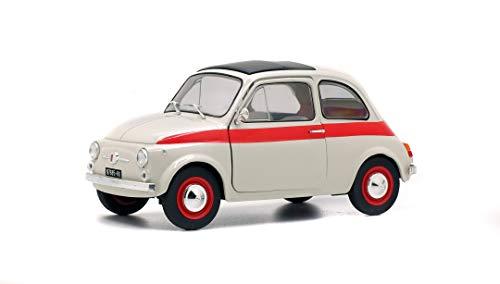 Solido S1801401 1:18 1960 Fiat 500L Nuova Sport-Crema/Rojo