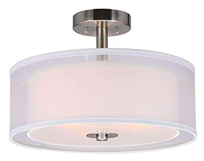 "XiNBEi Lighting Semi Flush Mount Ceiling Light, 3 Light Close to Ceiling Light with Fabric Shade, 16"" Drum Semi Flush Ceiling Light for Living Room & Bedroom"