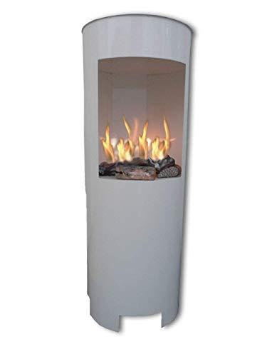 Ethanolkamin Gelkamin Höhe:100cm / Breite:37cm / Tiefe: 35 cm/freistehende Säule Kamin Weiss Inklusive: 3 x Brennstoff-Behälter/Betrieb mit Bioethanol oder Brenngel