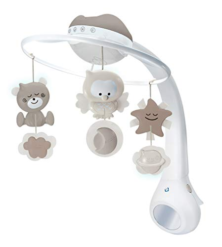 Infantino 3 in 1 Projector Musical Mobile - Convertible mobile, table and cot light and projector, with wake up mode to simulate daylight, complete with 6 melodies and 4 nature sounds