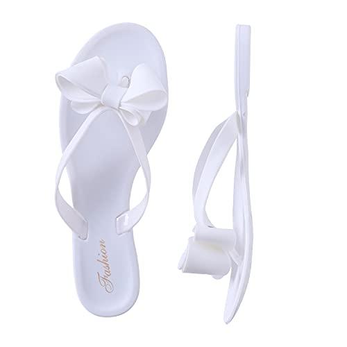 Shoe'N Tale Women Ribbon Bow Sandals Flip Flop Narrow Strap (9,White)