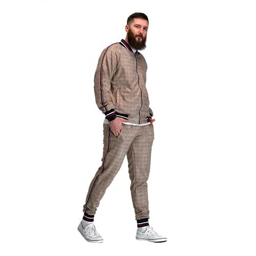 MrTailor Chándal para hombre a cuadros | Chándal de ocio y chaqueta | Chándal moderno | Chándal moderno | Pantalones a cuadros para hombre, beige, S