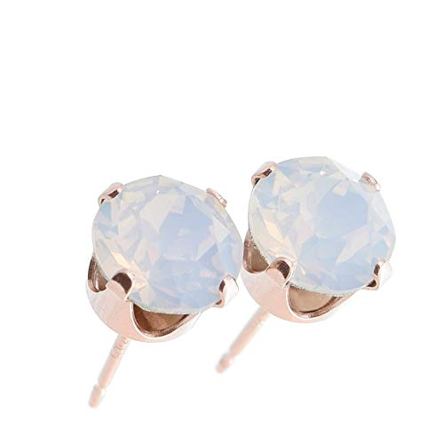 pewterhooter women's Rose gold stud earrings made with sparkling White Opal crystal from Swarovski. Gift box. Made in the UK. Hypoallergenic & Nickle Free for Sensitive Ears.