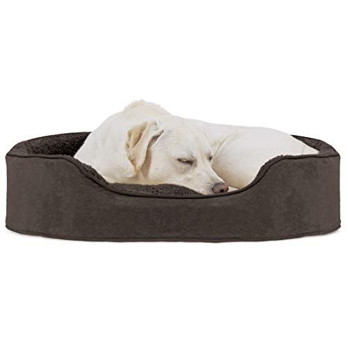 Furhaven Pet Dog Bed - Round Oval Cuddler Terry Fleece and Suede Nest Lounger Pet Bed for Dogs and Cats, Espresso, Extra Large