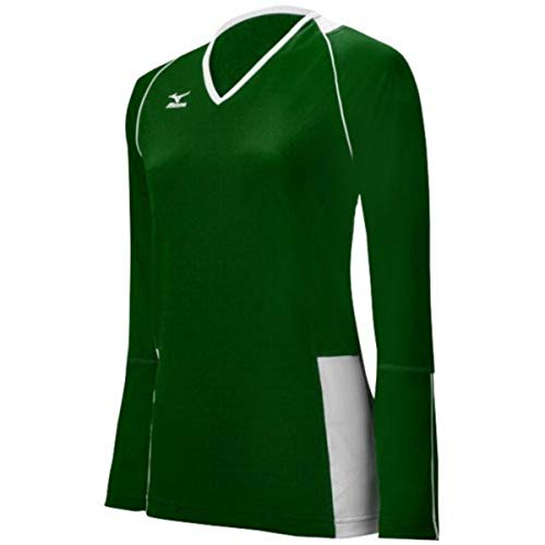 Mizuno Women's Classic Kailua Long Sleeve Jersey, Forest/White, XX-Small