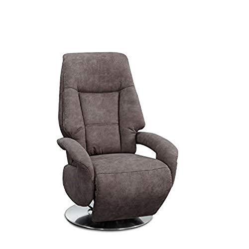 Cavadore TV-Sessel Edinburgh / Fernsehsessel mit Aufstehhilfe & elektrisch verstellbarer Relaxfunktion / 2 E-Motoren / 74 x 114 x 77 / Lederoptik: Taupe