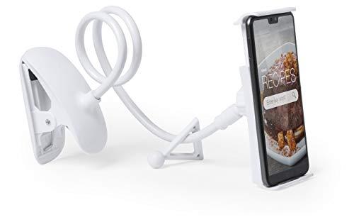 MKTOSASA - Soporte Multiusos para Dispositivos móviles. con mástil Flexible de 60 cm de Largo, Soporte con rotación 360º y ángulo de inclinación de hasta 45º - 12.3x6.4x2.8 Blanco