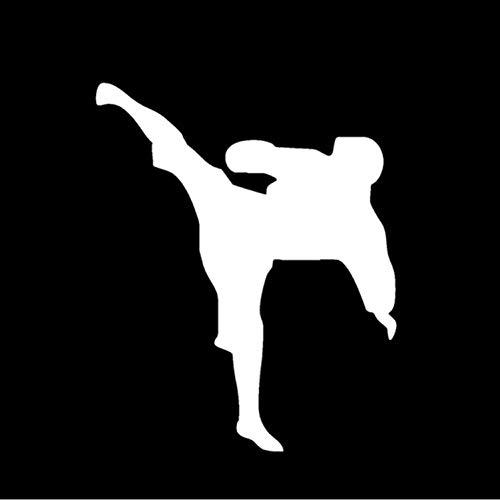 XCWQ Sticker voor wagen 11 x 13,5 cm krassen op het deksel tonen persoonlijkheid China Kung Fu Fighting Sports Decal Decal Decal voor Karate ramen en stickers zilver.