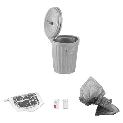 Kisangel Puppenhaus Mülleimer 1:12 Maßstab Mülleimer Mülleimer Miniatur Garage Shop Gartenzubehör Mini Puppe Spielzeug Zubehör Silber