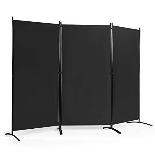 COSTWAY Biombo de 3 Piezas Separador con Almohadilla de Pie Ajustable Pantalla de Privacidad para Casa Oficina Dormitorio (Negro)