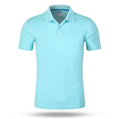 Polos De Secado Rápido Camiseta Solapa Manga Corta Hombres Y Mujeres Deportes Desodorante Transpirable De Verano Al Aire Libre Blue(C)-S