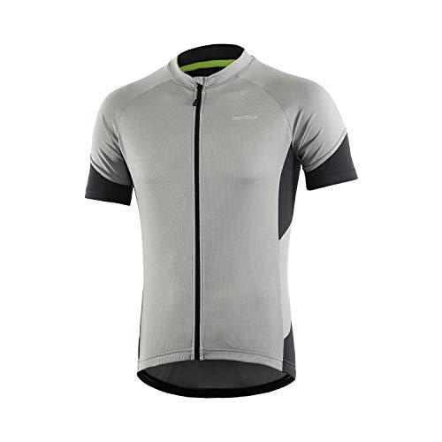BERGRISAR Men's Basic Cycling Jerseys Short Sleeves Bike Bicycle Shirt Zipper Pockets Grey Size Large