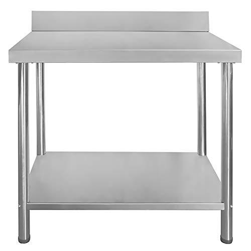 Gastro Edelstahltisch Edelstahl Arbeitstisch Küchentisch Höhenverstellbar mit/ohne Aufkantung Größenwahl V2Aox, Größe:150 x 60 cm, Aufkantung:mit Aufkantung