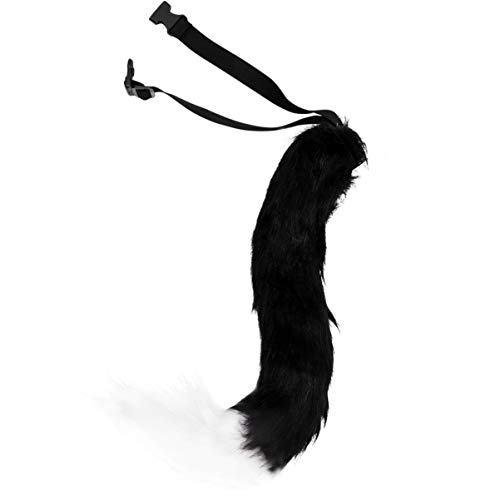 MILISTEN - Disfraz de zorro de piel sintética para disfraz de fiesta de Halloween y cola vivo, realista, para adulto, para adolescentes y cola de animal (negro y blanco)