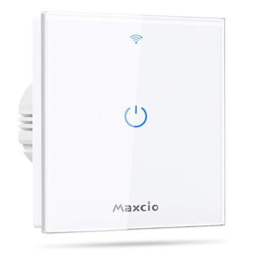 Interruptor Luz WiFi, Maxcio Interruptor Inteligente 1 Gang Compatible con Alexa y Google Home, Control de APP y Función de Temporizador, Neutral Requerido