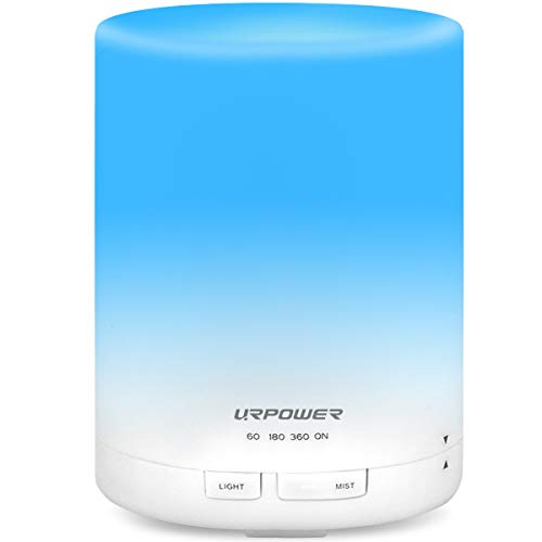 Urpower 2Nd Generation 300Ml Aroma Essential Oil Diffuser Ultrasonic Air Humidifier With Auto Shut Off And 6-7 Hours Continuous Diffusing - 7 Color Changing Led Lights And 4 Timer Settings