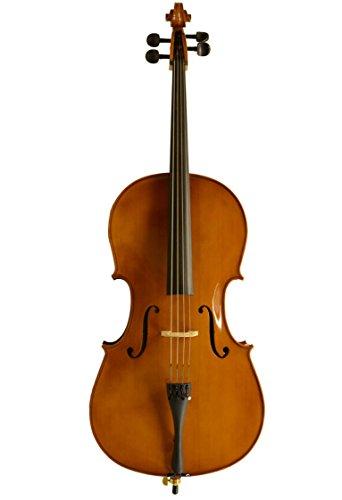 Sinfonie24 Cello Größe 3/4, Hamburger Geigenbau Manufaktur, bernsteinfarbend (Basic II) mit Hülle, Bogen und Kolophonium, spielfertig eingerichtet mit wohlklingenden Saiten aus speziellem Chromstahl