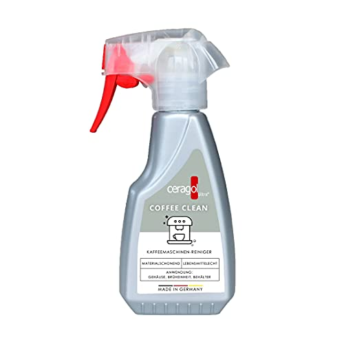 ceragol ultra Coffee Clean Reinigungs-Spray – Sprüh-Reiniger für Kaffee-Maschinen, Kaffee-Vollautomaten und Siebträger, flüssiger Kaffeefettlöser, 250 ml