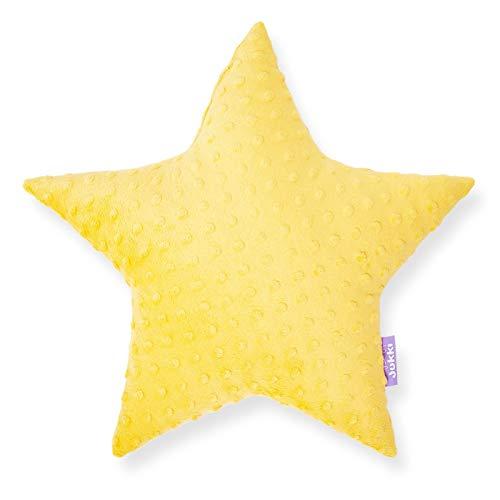 JUKKI® Baby, Kinder Kopfkissen Daunen Kissen Stern 40x40cm mehrfarbig zu 100% aus Minky Material und von Hand genäht für Mädchen und Junge, antiallergisch (Minky Gelb)