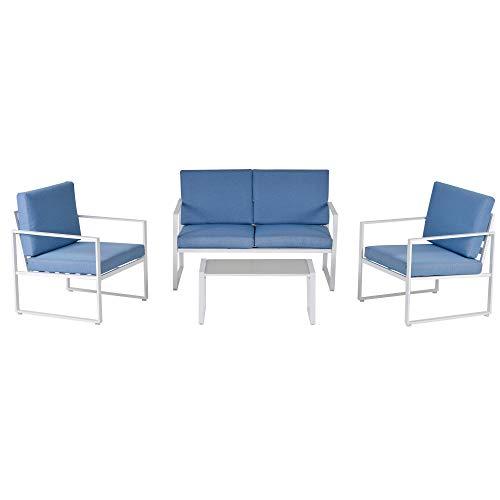 Set Salotto da Giardino Divano 2 Poltrone e Tavolino in Metallo Bianco e Blu