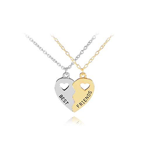 PU ran- Girls exquisite split Hollow a forma di cuore ciondolo collana dell' amicizia gioielli e Lega, colore: Golden + Silver, cod. 111190