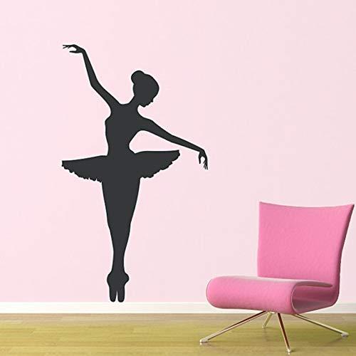 WGWNYN Ballerina Wandtattoo Tänzer tanzen Ballett Vinyl Wandtattoo Grafik Aufkleber abnehmbare Kunst Wandbild Yoga Raum 42 * 75cm