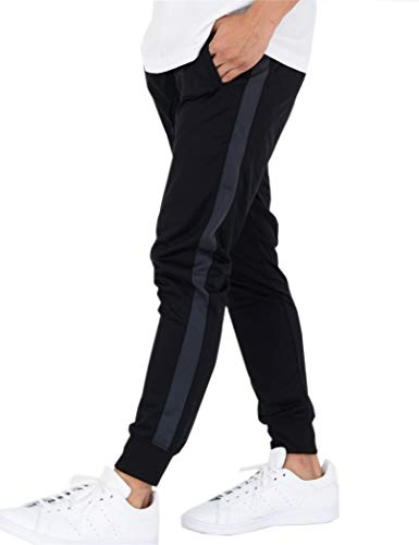 ティーシャツドットエスティー スリムジャージ 裾リブ スウェットパンツ ジョガーパンツ トレーニングロング メンズ ブラック/チャコール LL
