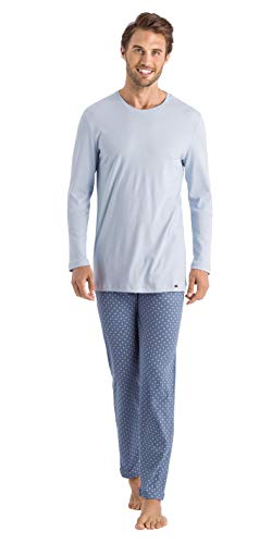 Hanro Herren Night and Day Long Sleeve Pajama Pyjama Set, Blaues minimales Ornament, XX-Large