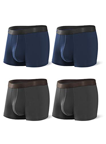 DAVID ARCHY Men's Underwear Bamboo Rayon Breathable Trunks Basic Solid Ultra Soft Underwear in 4 Pack No Fly (M, Navy Blue/Dark Gray - 2.5