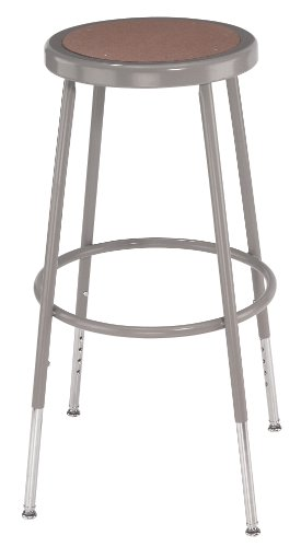National Public Seating 6224H Steel Stool with Hardboard Seat Adjustable, 25