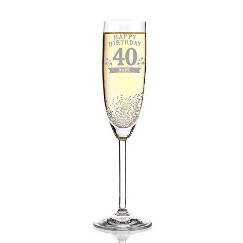 Leonardo Sektglas mit Wunschname zum 40. Geburtstag inkl. Gratis Gravur