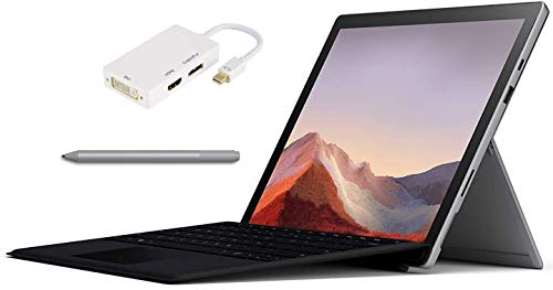 New Microsoft Surface Pro 7 – 12.3' Touch-Screen - 10th Gen Intel Core i7-16GB Memory - 256GB Solid State Drive – Platinum Color, Windows 10 Pro, Bundle: Black Type Cover, Surface Pen & USB-C Dock