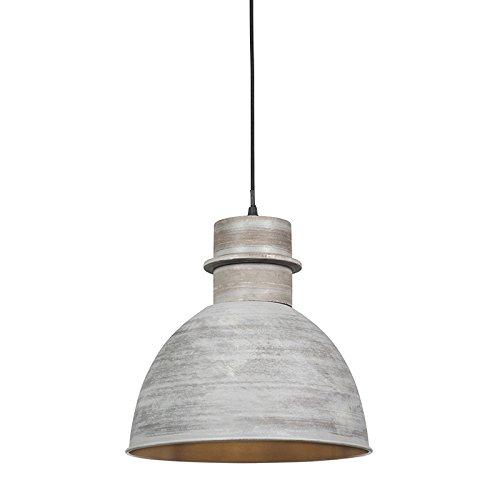 QAZQA - Landhaus   Vintage 3-flammiger Set Country Hängelampe   Pendellampe   Pendelleuchten grau - Dory   Wohnzimmer   Schlafzimmer   Küche - Metall Rund - LED geeignet E27