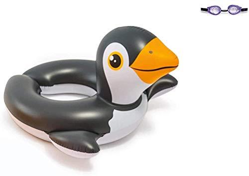Bavaria Home Style Collection Aufblasbarer Schwimmring Motiv Auswahl Flamingo Ente Pinguin Wasserspielzeug Luftmatratze mit Tierkopf Wasserspielring (Pinguin)