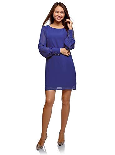 oodji Ultra Damen Gerade Geschnittenes Kleid aus Fließendem Stoff, Blau, DE 38 / EU 40 / M