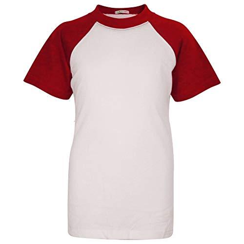 A2Z 4 Kids Kinder Jungen Mädchen T Shirt Designer Plain Baseball Kurz Raglan Ärmel - T Shirt PL426 Red 11-12