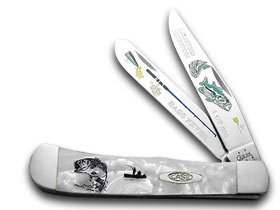 CASE XX Collectors Edition Bass Fever Etched 1/500 White Pearl Pocket Knife Knives