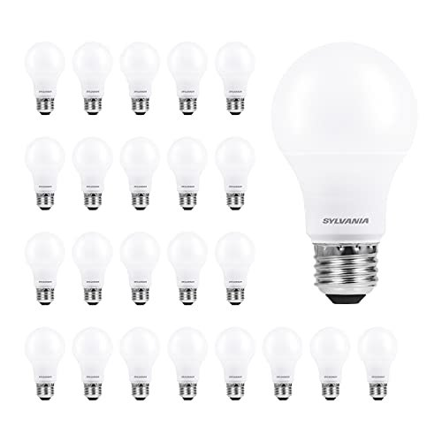 SYLVANIA ECO LED A19 Light Bulb, 60W Equivalent, Efficient 9W, 7 Year, 750 Lumens, Non-Dimmable, Frosted, 5000K Daylight - 24 Pack (40987)