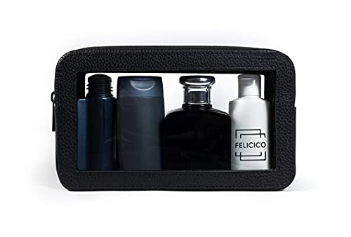 FELICICO Premium 2 in 1 Kulturbeutel mit 1 Liter Fassungsvermögen und hochwertigem Leder Etui (Schwarz) - Transparente Kulturtasche für Vielflieger - Durchsichtige Kosmetiktasche - Beauty Case