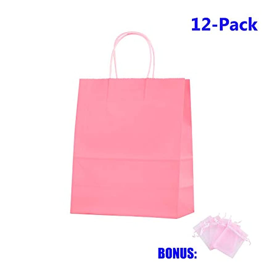 Anleolife 12 Small Kraft Paper Kids Gift Bags, Assorted Goody Tote Loot Set for Party Favor Supplies on Boys/Girls Birthday, Baby Showers, Retails Shopping Restaurant Takeout, Store Owner (Pink)