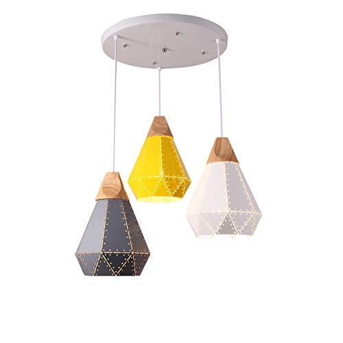 SLSMD stijl ijzer vogel kroonluchter, stijl industriële stijl, metalen kroonluchter plafondlamp, hout ijzer kleur lampenkap kroonluchter, keukenrestaurant, vensterbank, balkon, bloemenwinkel