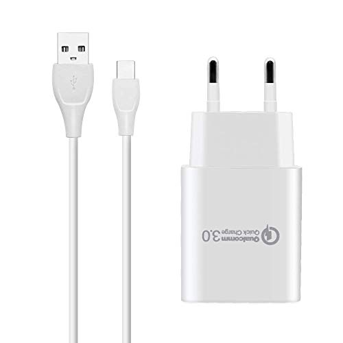 BERLS Caricatore USB con Cavo USB Tipo C, Caricabatterie Carica Rapida per Samsung Galaxy S10,S10 E,S9,S9 Plus,S8,S8 Plus, Note 8,Note 9, A3 A5, A7(2017), Xiaomi, Redmi, LG, Huawei, Honor (Bianco)