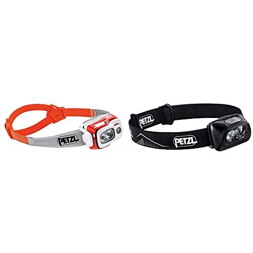 PETZL Swift RL Lámpara De Cabeza, Adultos Unisex, Naranja, Uni + Actik Core Linterna (Linterna con cinta para cabeza, Black, Botones, IPX4, CE, 450 lm)