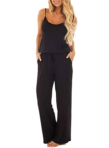 AMiERY Womens Sleeveless Casual Jumpsuits for Women Rompers for Women Solid Off Shoulder Jumpsuits Loose Pants Long Romper (M, Black)